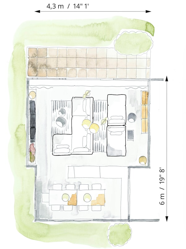 Colour floorplan sketch to show the living room furniture arranged into separate TV and relaxation zones.
