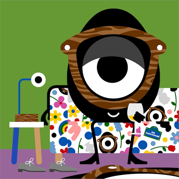 Colourful illustration of the Darcel Disappoints character lounging on a KLIPPAN sofa with FÖRNYAD cover.