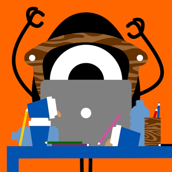 Colourful illustration of the Darcel Disappoints character struggling with a creative idea for FÖRNYAD collection, at a desk.