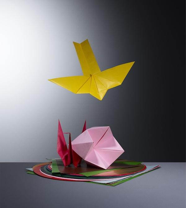 Colourful origami paper.