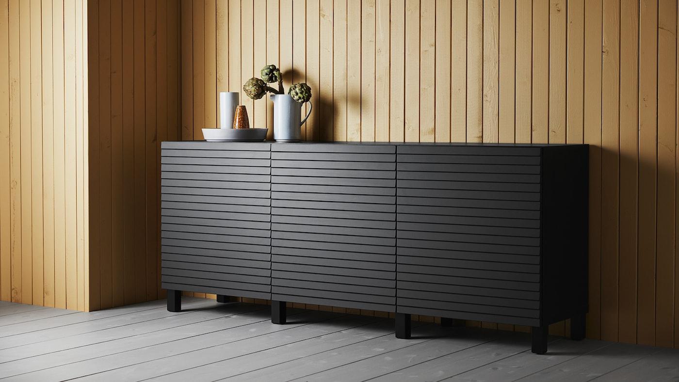 Combinação de arrumação com portas, 180x42x74 cm, em preto-castanho/Stockviken/Stubbarp antracite