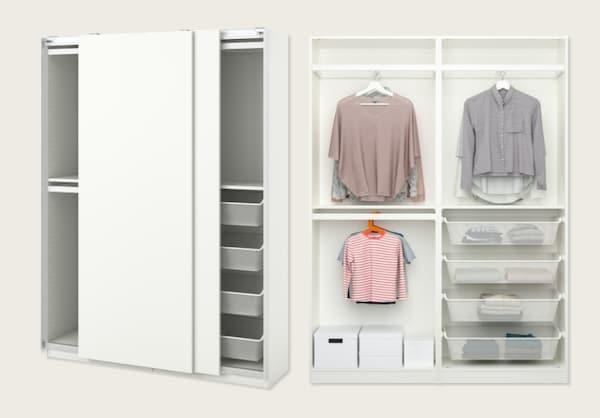 Combinación armario, blanco, 150x44x201 cm