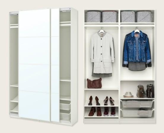 Combinación armario, blanco, espejo, 150x44x236 cm