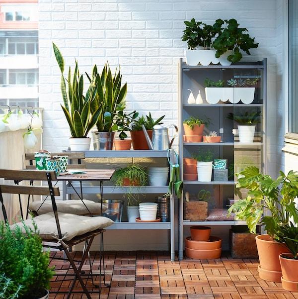 Cómo decorar terrazas con sillas y mesa a conjunto y un lugar para tus plantas