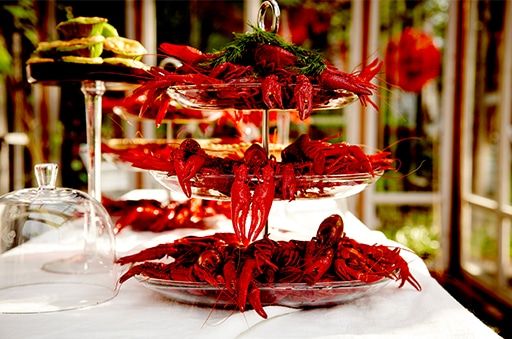 Cooked crayfish on a tiered serving dish
