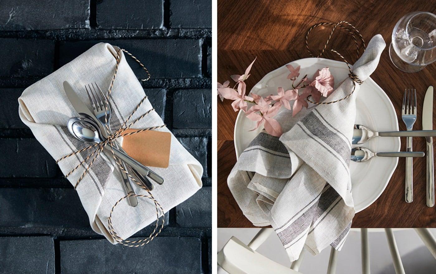 Corbeille en fil remplie de surprises et emballée dans un joli linge à vaisselle. À droite, le linge est déposé sur une assiette.