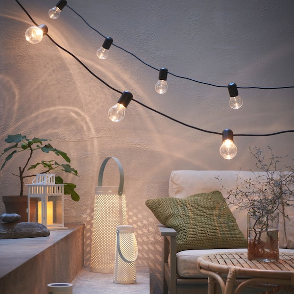 cosy outdoor space with various outdoor lightings