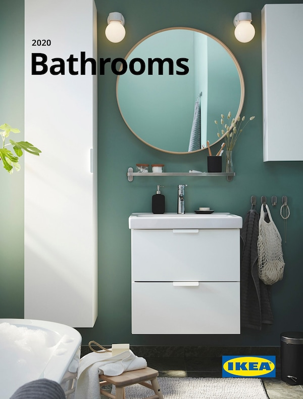 Cover for the 2020 IKEA Bathroom Brochure, showing a wall mirror, cabinet and small toiletry articles hanging on the wall.