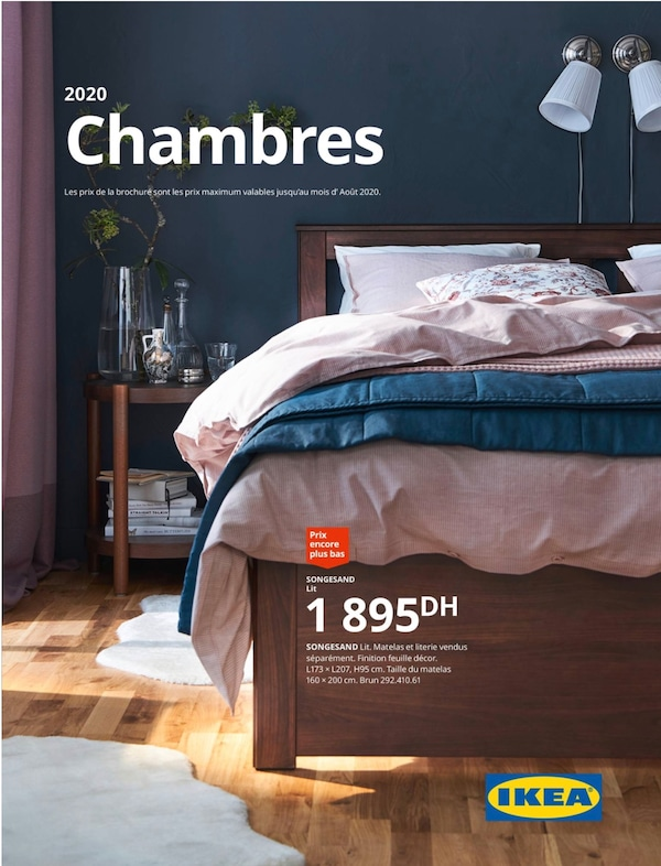 Cover for the 2020 IKEA Bedroom Brochure, showing a bed, pillows, duvet covers, wall lamps and various decorations on a bedside table.