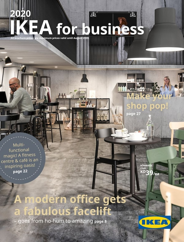 Cover for the 2020 IKEA Business Brochure, showing a modern cafe with coffee tables and a working area with a person sitting on his laptop.