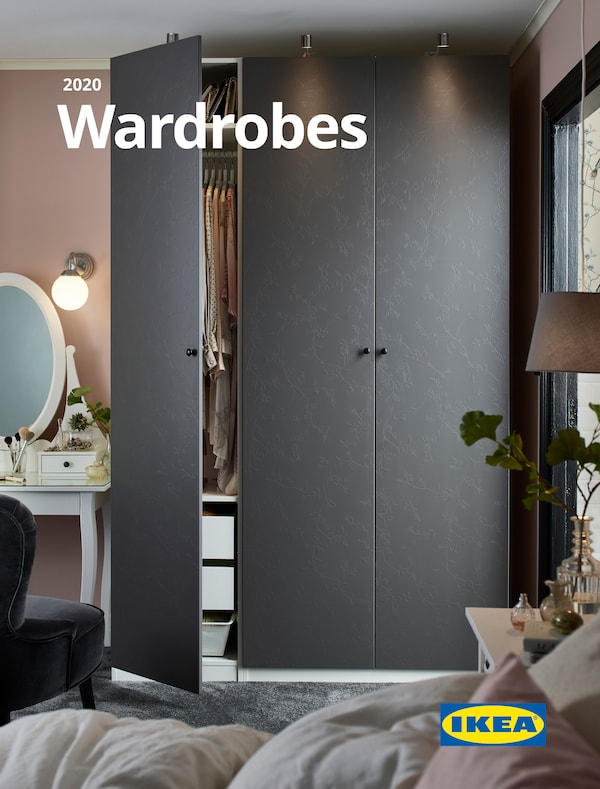 Cover for the 2020 IKEA Wardrobe Brochure, showing a grey wardrobe with one of the doors open and a bedroom dressing table.