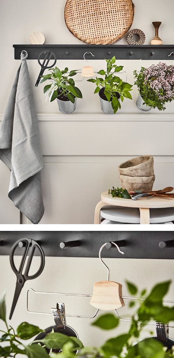 Create a kitchen garden with plant pots attached to a trouser hanger! Just hang it on a wall rail with hooks. IKEA offers different clothes hangers such as BUMERANG chrome-plated trouser/skirt hanger.
