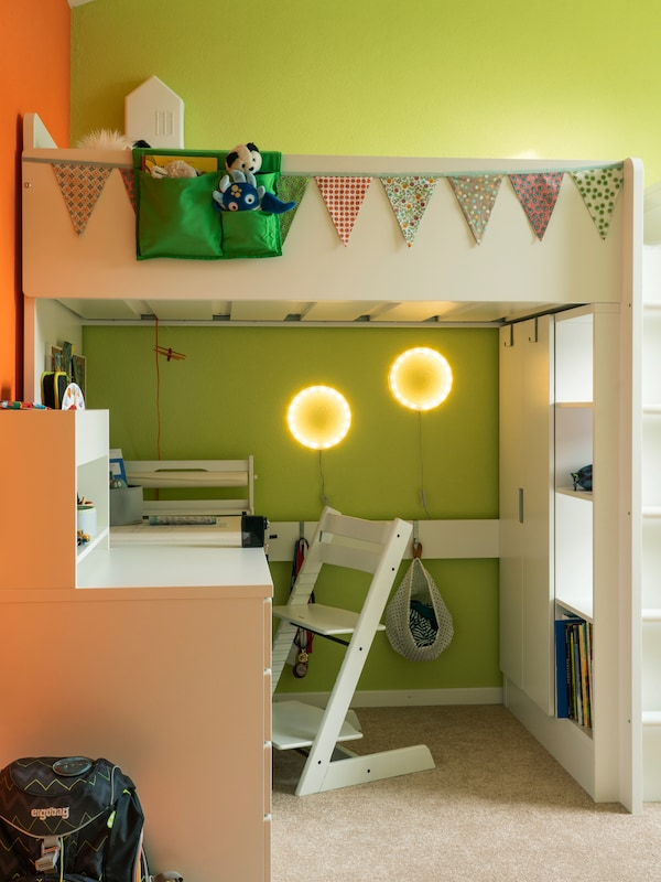 Create storage space in the children's room with the IKEA loft bed.
