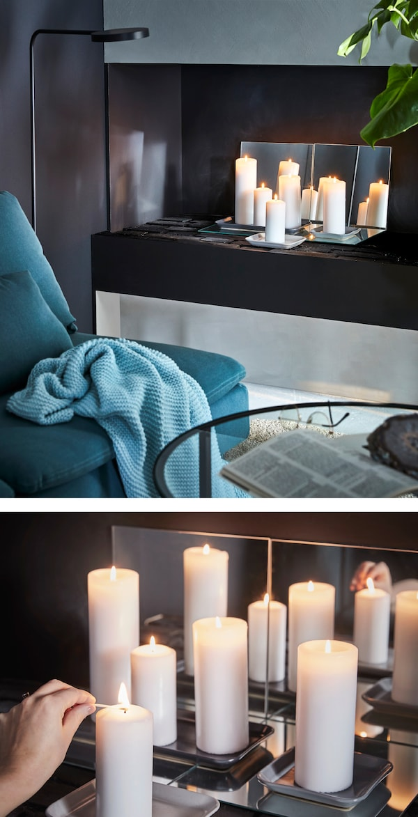 Create your own deco! Place block candles on top of some mirrors. Try IKEA FENOMEN white unscented block candles!
