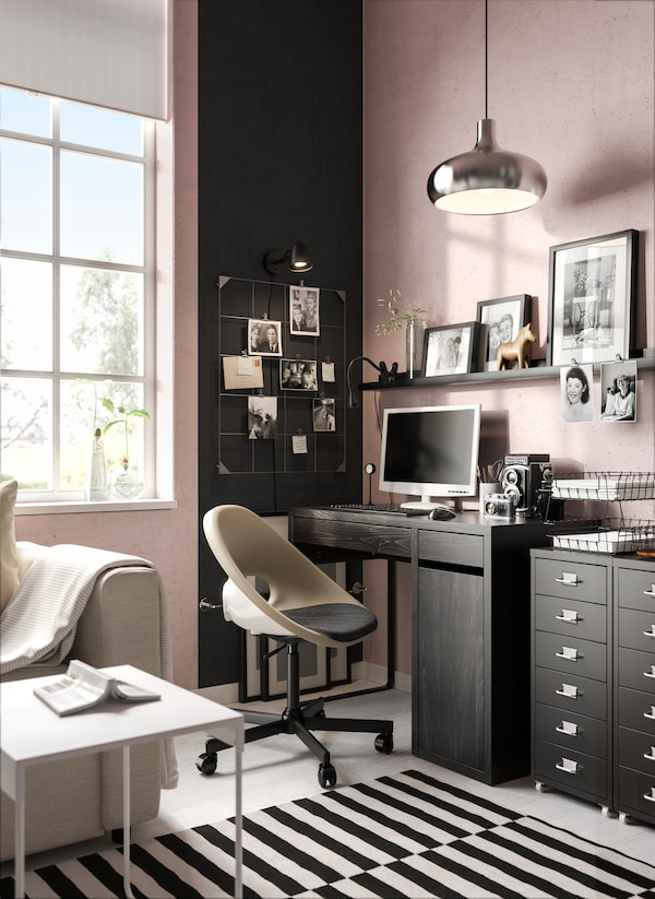 Creative workspace with a lot of storage and functional solutions.
