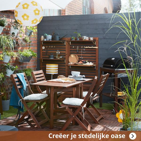 Creëer je stedelijke oase, tuinset in hout met barbeque en tuinverlichting