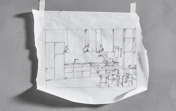 Croquis d'une cuisine IKEA linéaire, collé au mur.