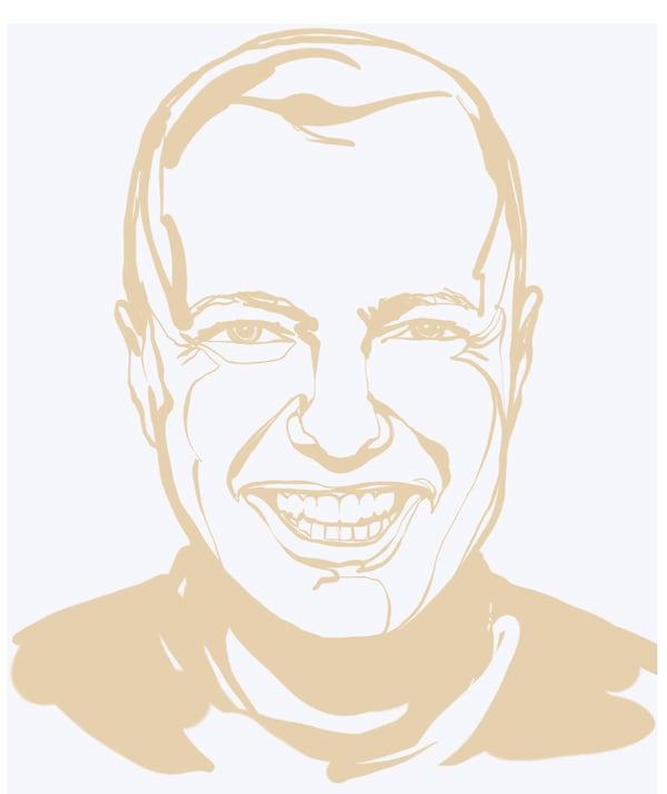 Croquis en beige et blanc du visage de Julián Velázquez-Vidal, responsable de la division Wood & Fibre chez IKEA: sourire, cheveux courts.