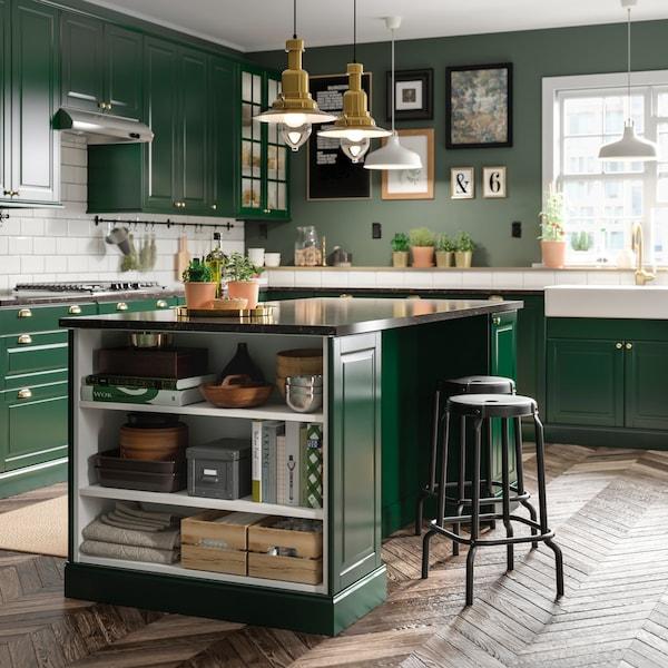 Cucina Angolare Ikea.Cucina Componibile Bodbyn Verde Ikea