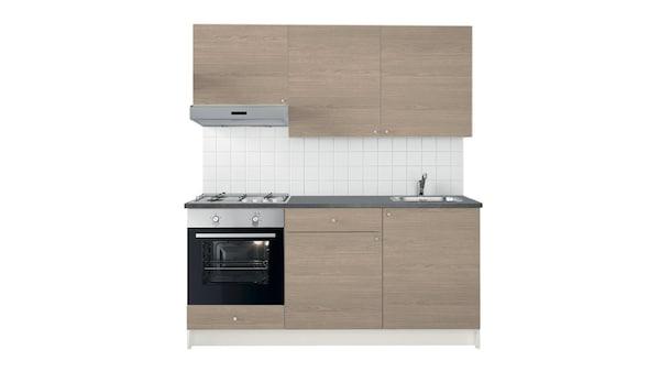 Cucina completa effetto legno grigio composta da mobile base con ante, cassetti, piano di lavoro e pensile con ante. Cappa inox da fissare alla parete, forno inox e piano cottura a gas - IKEA