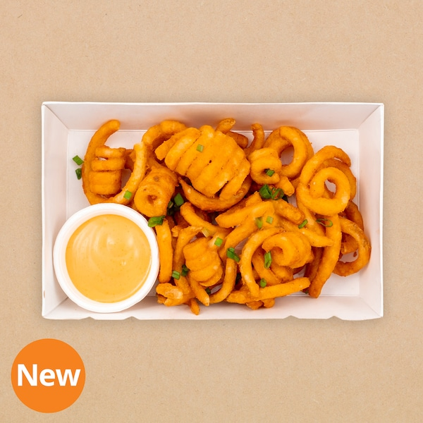 Curly fries with nacho cheese