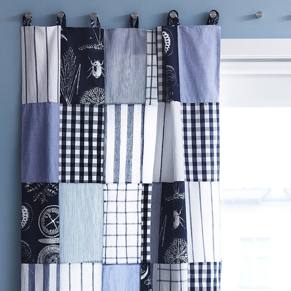 Curtain made from tea towels in blues