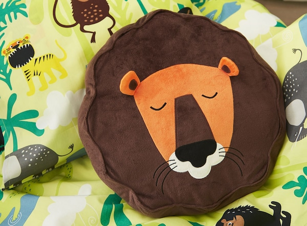 Cushion, lion, brown