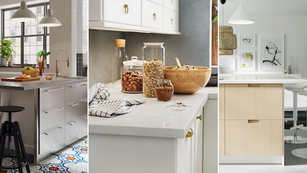 Custom quartz countertops in three modern kitchens