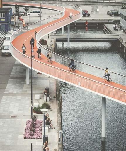 cyclists-on-the-orange-cykelslangen-bridge-in-copenhagen