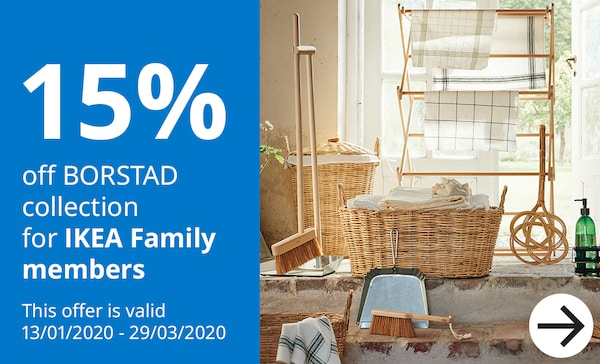 15% off BORSTAD collection for IKEA Family Members