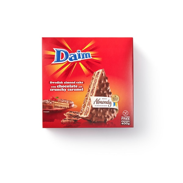 DAIM Swedish almond cake with chocolate and crunchy caramel