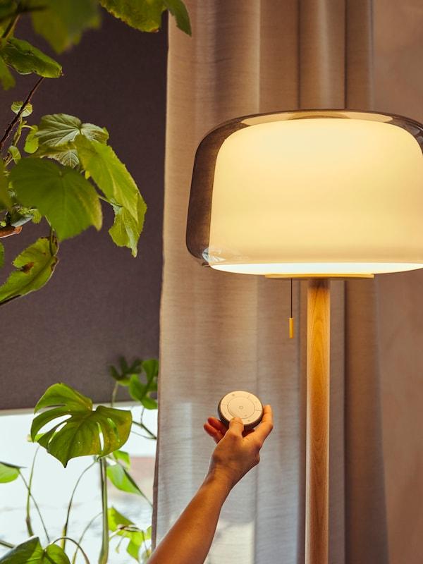 Dálkové ovládání TRÅDFRI a rozsvícená lampa.