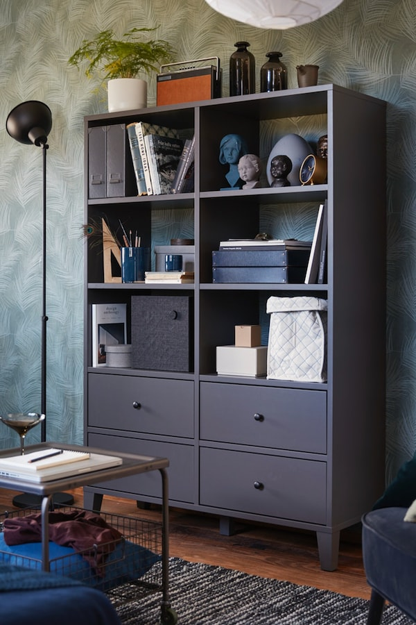 Dark grey BRYGGJA storage unit perfect for the home office or living room with four drawers and ample shelf space