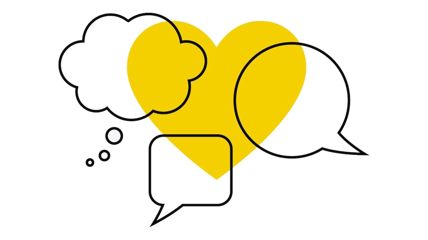 Das IKEA Symbol für die Kommunikation in Zeiten des sich ausbreitenden Coronavirus. Es besteht aus drei verschiedenen Sprechblasen, die über ein gelbes Herz gelegt sind.