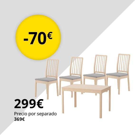 EKEDALEN / EKEDALEN Mesa con 4 sillas, abedul, Orrsta gris claro, 120/180 cm