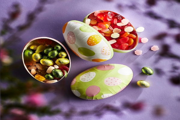 decorative easter eggs filled with chocolate and gummy candies