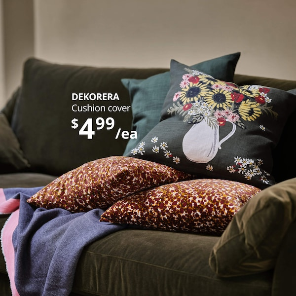 DEKORERA cushion cover on a sofa
