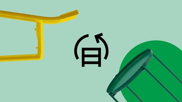 Des meubles flottent sur un fond vert. L'icône du service de rachat et de revente de IKEA se trouve au milieu.