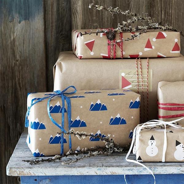 Des paquets cadeaux de noël