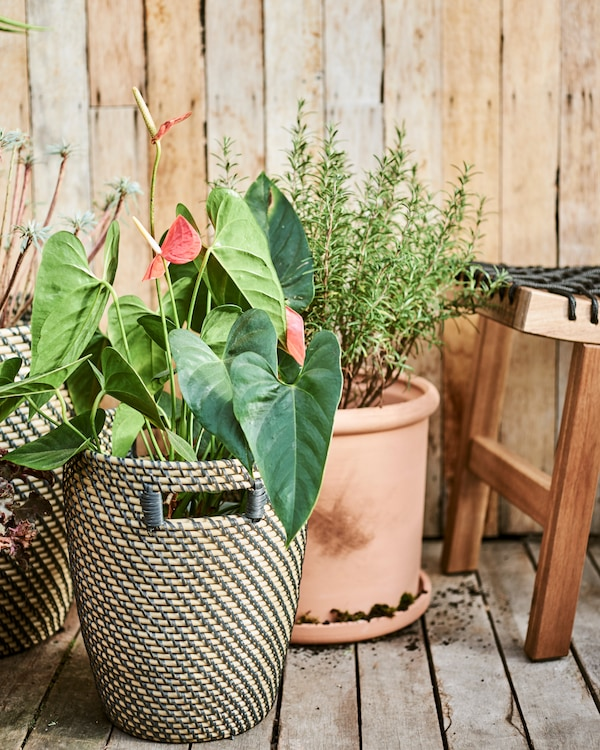 Des pots en terre cuite et en fibres naturelles sur une terrasse en bois, à côté d'un tabouret en bois avec une assise en corde noire.