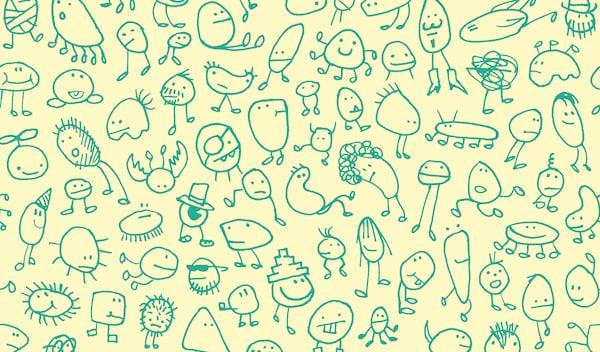 Desenhos verdes de crianças de criaturas fantásticas num fundo amarelo.