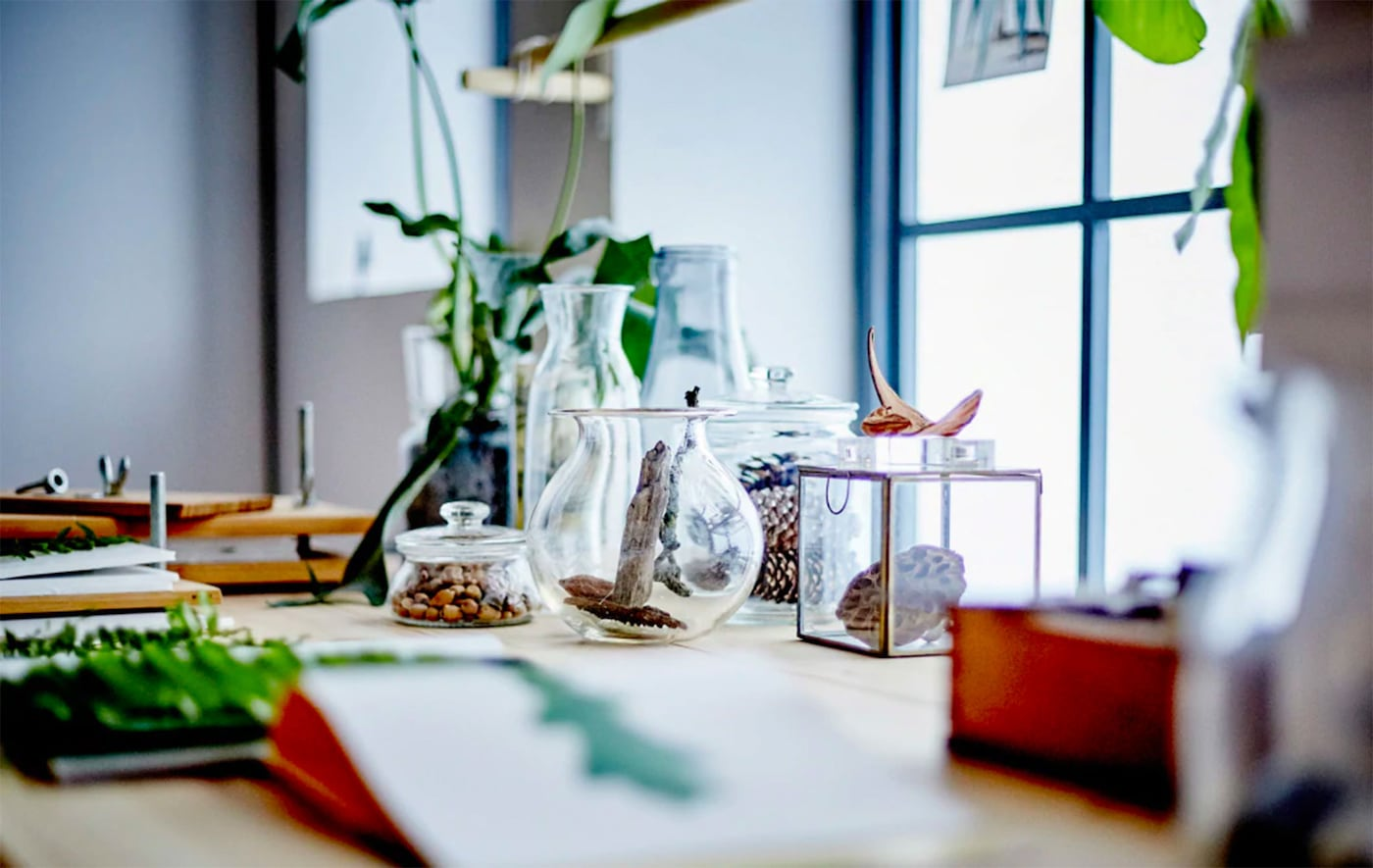 Desk in front of a brightly lit window with glass containers on it filled with plants and pinecones