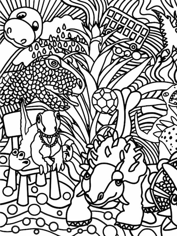 Dessin en noir et blanc du dinosaure JÄTTELIK dans un paysage mystérieux.
