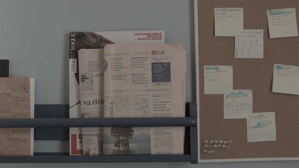 Dettaglio mensola e bacheca con appunti, luigi galimberti, progetto Minds of Change IKEA