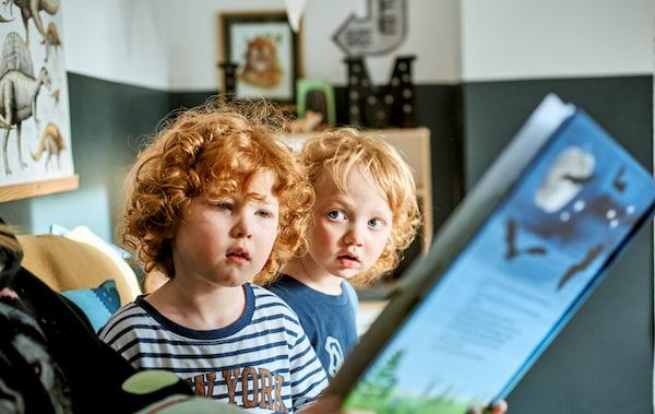 Deux enfants à qui l'on fait la lecture dans un livre bleu.