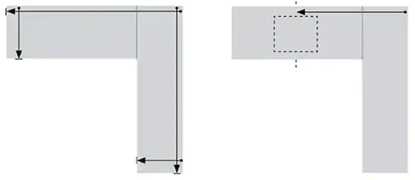 Diagram showing how to measure your countertop area for both attached and freestanding IKEA custom countertops