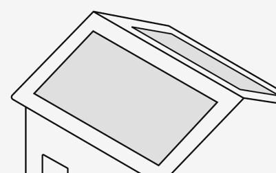 Dibujo de una instalación solar en casa mediana