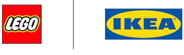 Die Logos von LEGO und IKEA nebeneinander auf weißem Untergrund. Sie sind durch eine schwarze Linie getrennt.