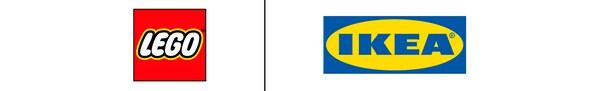 Die Logos von LEGO und IKEA nebeneinander auf weissem Untergrund. Sie sind durch eine schwarze Linie getrennt.