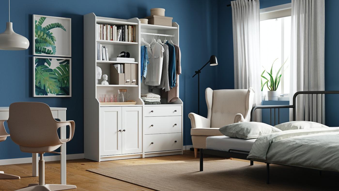 Die vielseitige HAUGA Serie bietet Aufbewahrungslösungen, die sich für fast jeden Raum im Zuhause eignen, wie Wohnzimmer, Flur, Essbereich und Schlafzimmer.